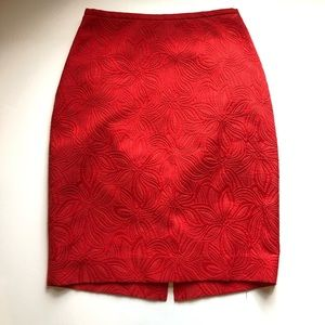 THE LIMITED Red Floral Pattern Pencil Skirt